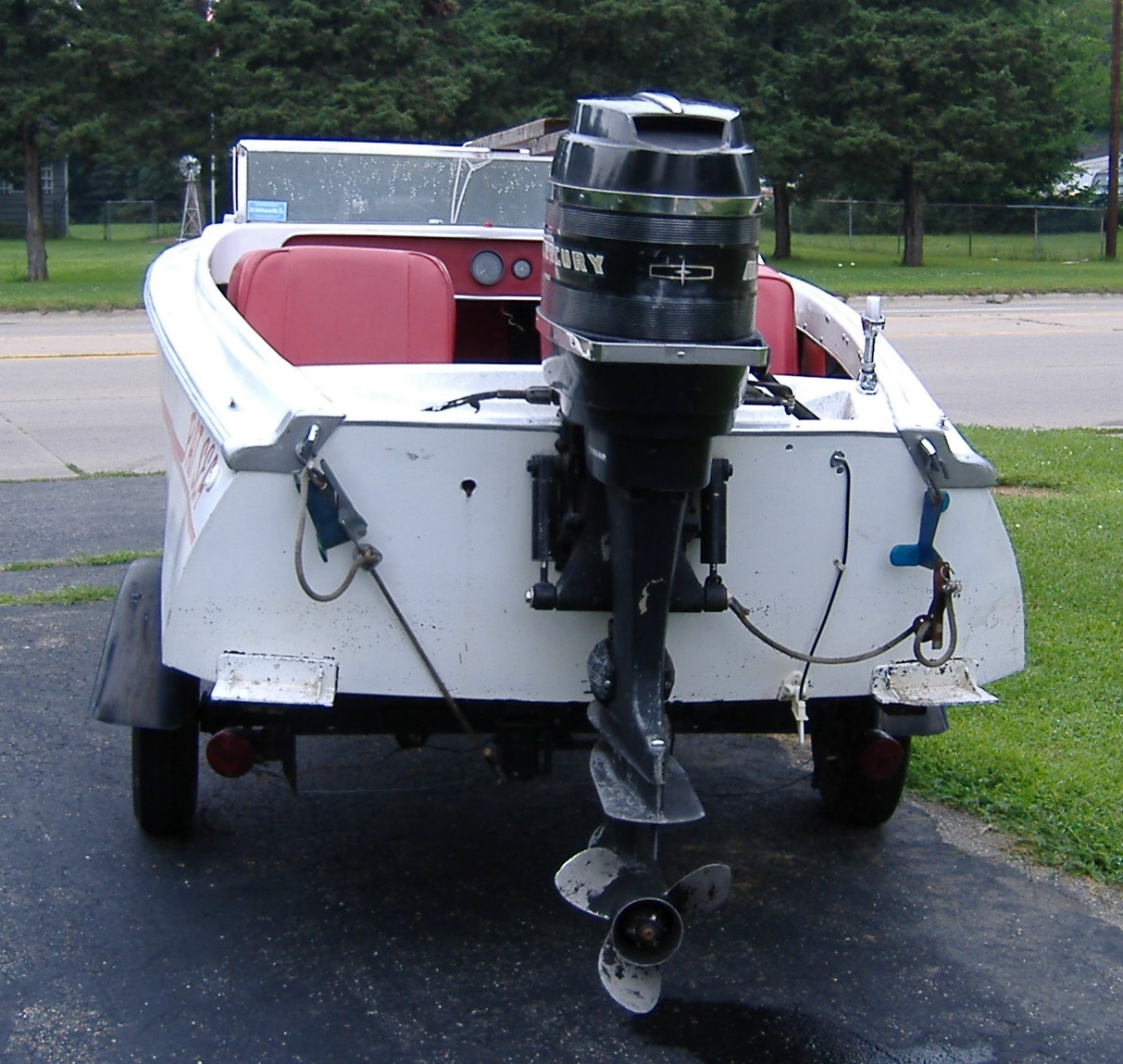 """1965 Sabre-Craft Fury 15 Ft. 1965 65 HP Mercury outboard, long shaft (new  coil, new starter) 1991 """"Assembled"""" Trailer"""